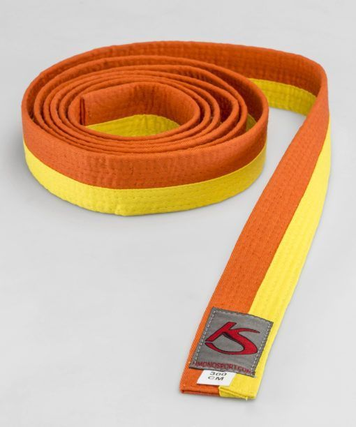 Yellow-orange Martial arts belt suitable for competing